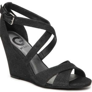 G by Guess Harpee Black Glitter Wedge Sandals 6